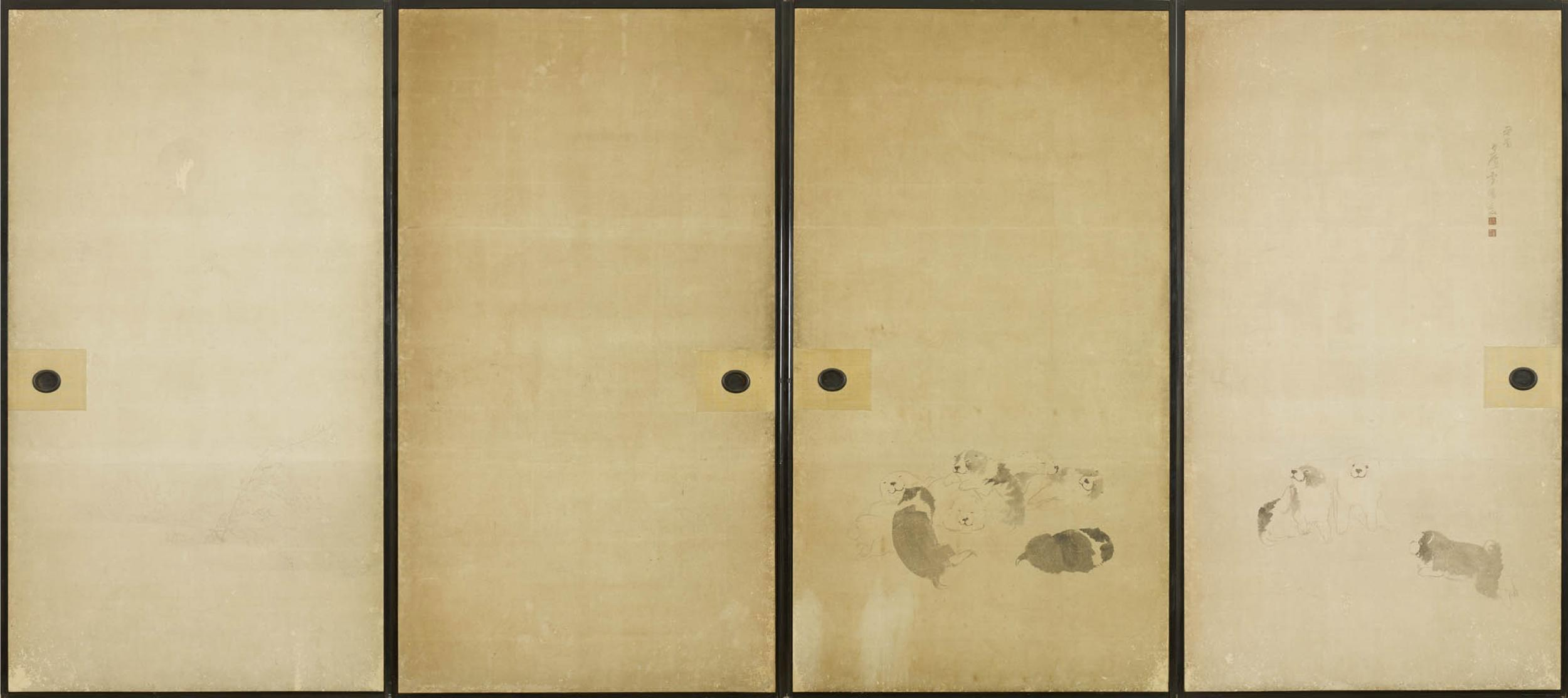 64564c A Set Of Four Fusuma Sliding Doors Painted In Ink On A