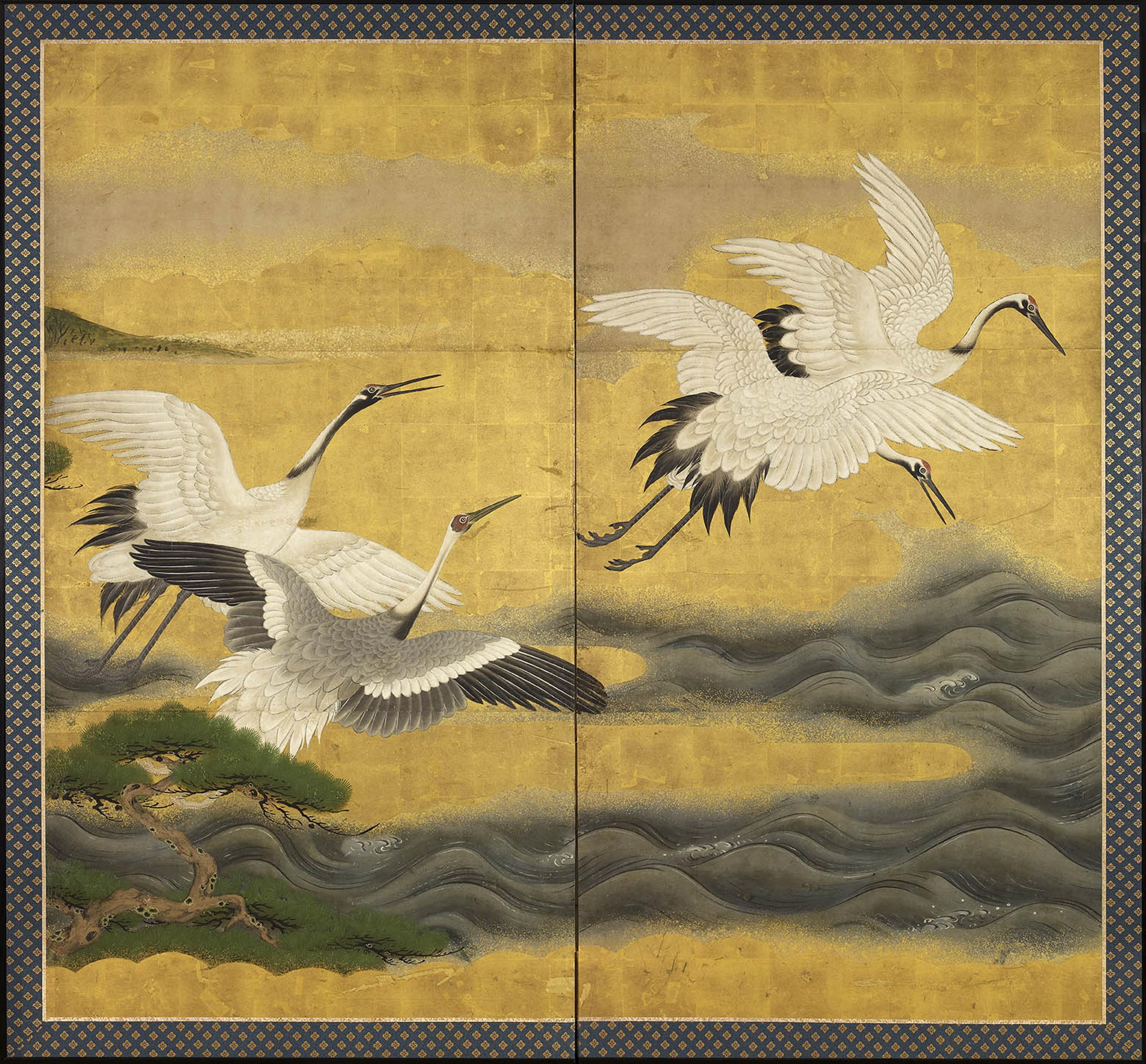 6778 A Two Fold Paper Screen Painted In Ink And Colour On A Gold Ground Wi Gregg Baker Asian Art