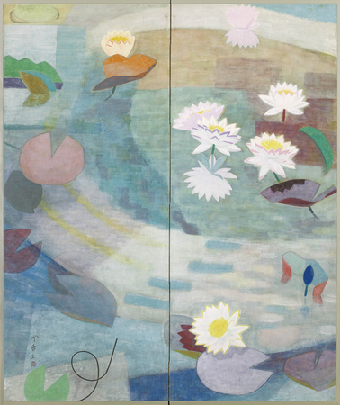 7118	A two-fold screen painted in colour with a lotus pond