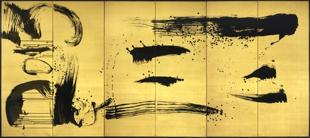 7176  A six-fold paper screen painted in ink on a hakura