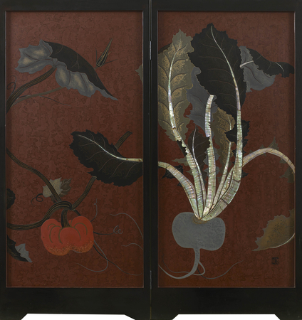 7184 A two-panel lacquer screen