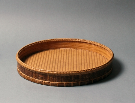 4426 A rattan and bamboo chabon (tea tray) of circular form, finely woven i