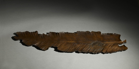 5808 A wood tray carved as a banana leaf. Japan 19th century Meiji period