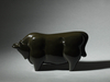 6130 A roiro (black lacquer) okimono (decorative object) of a bull. Signe