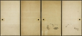 6456/4C A set of four fusuma (sliding doors) painted in ink on a buff groun