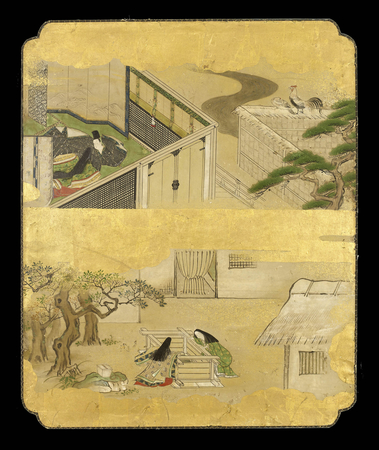 6486 A panel painted in ink and colour on a gold ground with scenes from I