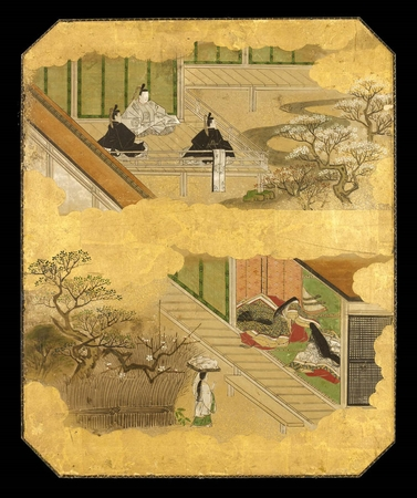 6487 A panel painted in ink and colour on a gold ground with scenes from Is
