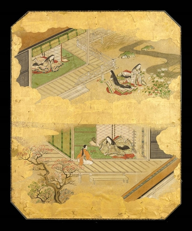 6493 A panel painted in ink and colour on a gold ground with scenes from I