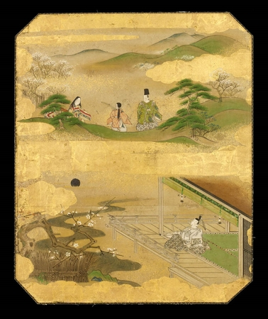 6496 A panel with scenes from Ise Monogatari (the Tale of Ise) Japan Edo p