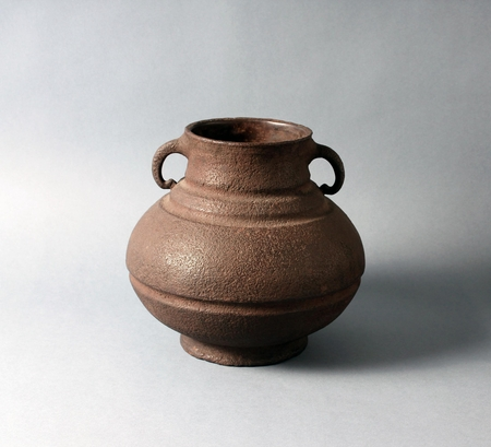 6639 An iron flower vessel. Japan 20th century Taisho period Dimensions: