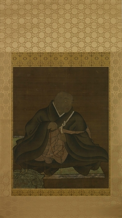 6954 A kakemono (hanging scroll) painted in ink and colour on silk with a p