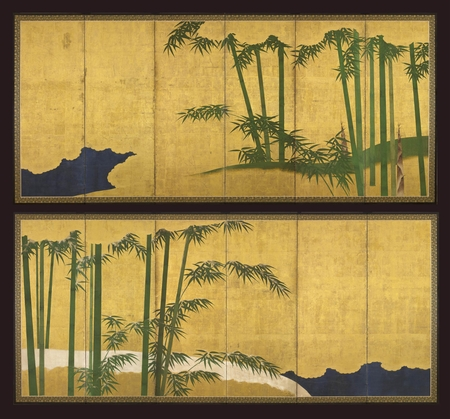 6957 A pair of six-fold paper screens painted in ink and colour on a gold
