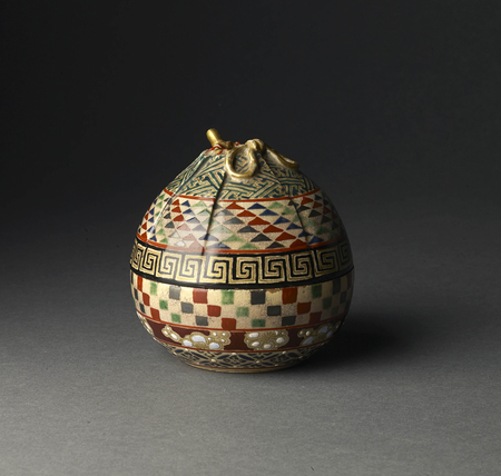 7067 A ceramic kōro (incense burner) painted in coloured enamel in the form