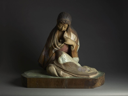 7064 A wood and polychrome painted sculpture