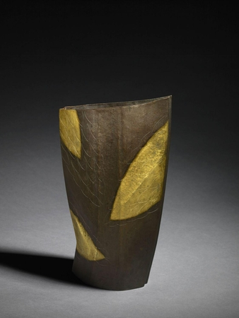 7078 A forged copper sculpture of abstract geometrical form