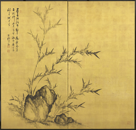 A two-fold paper screen painted in ink on a gold ground with bamboo and rocks