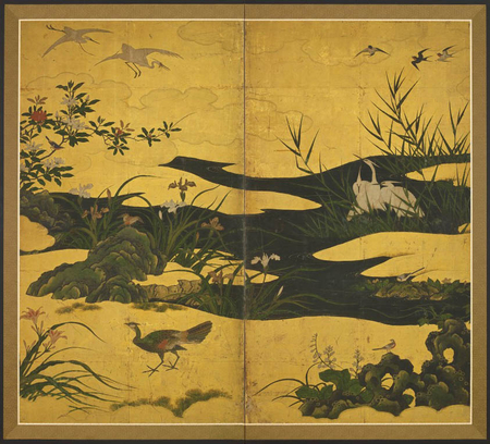 7124 A two-fold paper screen painted in ink on a gold ground